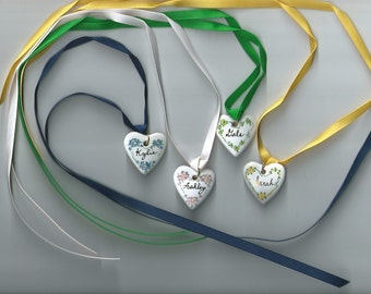 Personalized China Heart Necklace With Ribbon