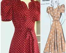 1940's Vintage Reproduction Dress with Puff Sleeves and Midriff Waist