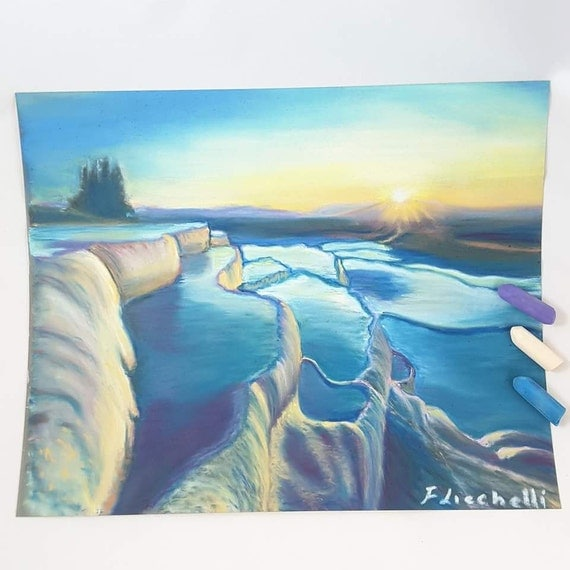 Original pastel, Pamukkale, sunset Seascape, OOAK, Turkey Landscape, soft pastels drawing, gift idea for him, home office decoration, art.