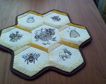 Embroidered Honey Bee Wallhanging
