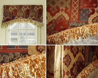 "Board-Mounted Valance Chenille Terra Cotta Orange Gold Black 43"" wide Arched Design Gold Fringe 3.5"" Clearance"