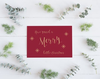 Pack of 5 Christmas cards, Merry Christmas card, Merry little Christmas, Happy Christmas card, Seasons Greetings, Happy Holidays