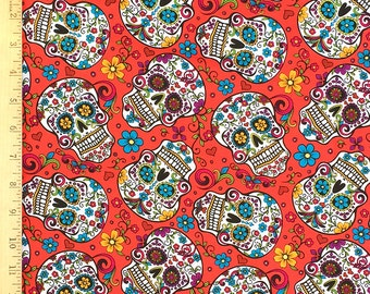 Skull Fabric, The Day of the Dead Fabric, Dia De Los Muertos Sugar Skulls Print Fabric, 100% Cotton Fabric by the Yard