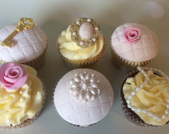 6 Delicious Vanilla, Chocolate or Lemon Cupcakes with vintage style fondant toppers - key, brooch, pearls, roses