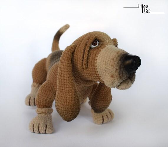 Amigurumi Hound Dog : Basset hound dog figure of breed crochet toy amigurumi