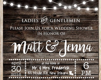 Wood & Lights Wedding Shower Invitation