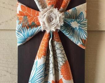Orange and Aqua Floral Cross