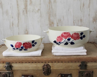 2 antique dishes, Rose Rouge, from Gien HSCM - Made in France - setting campaign - diameter 20/23 cm - PLT160593