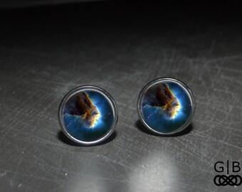 Space Cloud Studs Earrings Blue Space Jewelry Cloud Space Studs Earrings - Blue Space Studs Earrings Jewelry - Blue Space Earrings Studs