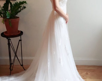 Strapless Empire Waist Lace Wedding Dress