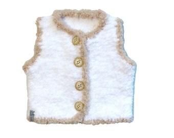 """baby Cardigan, sleeveless jacket white fur jacket with """"little shepherd"""""""