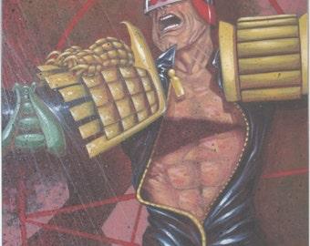 Original 2000AD Judge Dredd cover art by Charlie Adlard