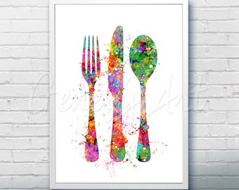 Kitchen Cutlery Fork Knife Spoon Watercolor Art Print