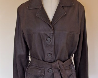 Womens Vintage Brown Leather Trench style Jacket Coat