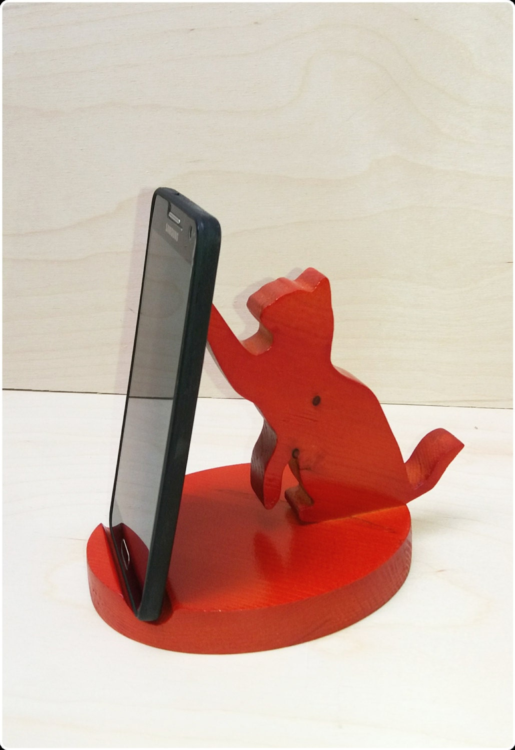Sale wooden phone holder cat stand by