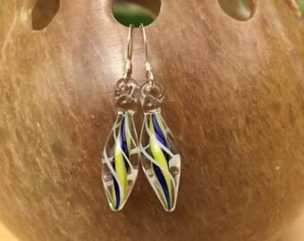 Lampworked Glass Drop Earrings on Sterling Silver Hooks