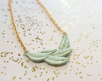 Necklace, mint, graceful leaves