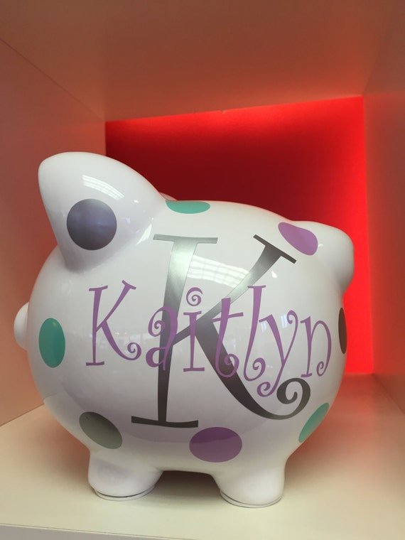 Personalized piggy bank piggy bank childrens piggy bank for Create your own piggy bank