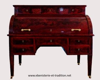 19th C. Mahogany Cylinder Desk - Office cylinder mahogany 19th