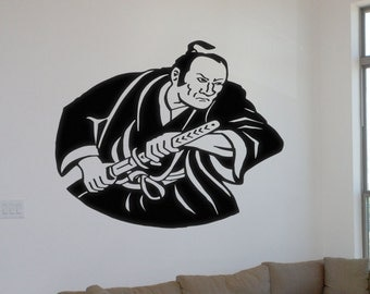 Samurai Wall Decal Vinyl Decal Samurai With Sword Samurai Man Wall Decal Vinyl Decal  Samurai Decal Samurai Car Decal Samurai Car Sticker
