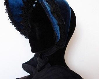 "Half hat embroidered velvet ""land of roses"""