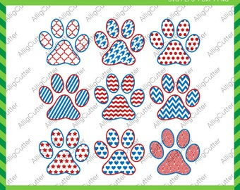 Paws Patterned Frames chev dot stripes SVG DXF PNG eps Monogram Cut Files for Cricut Design, Silhouette studio,  Vinyl decal,  Makes the Cut