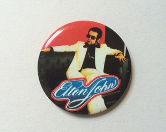 Original Large Elton John Pin Badge (Rare Rock And Roll Promo Memorabilia)