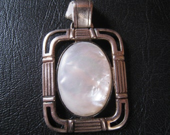Vintage silver pendant with nacre