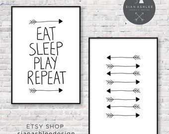 Funky Nursery Wall Art | DIY Print | Eat Sleep Play Repeat + Arrows | Black and White | by Sian Ashlee Design