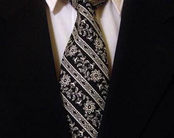 Black Floral Tie, Black Stripe Tie, Mens Necktie, Mens Tie, Floral Necktie, Stripe Necktie, Black Necktie, Black Tie, White Necktie, Father