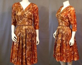 Vintage 1950's Dress The Jones Girl | Taffeta | Watercolor Floral | Full Skirt | Small