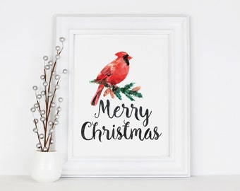 Merry Christmas Cardinal Bird, Printable Art, 5x7, 8x10 Print, Instant Download, Holiday Decorations, Seasonal Party Decor, Digital Download