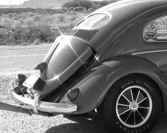 Oval Window Volkswagen Bug Black and White vw photography, VW bug, vintage Volkswagen, unique photos, race car, desert backroads, Arizona