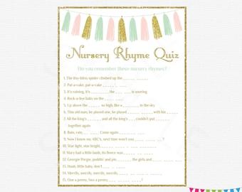 Pink Mint Gold Baby Shower, Nursery Rhyme Quiz, Pink Mint Gold Tassels, Girl Baby Shower Game, Printable Baby Shower, DIY Baby Shower TASPMG