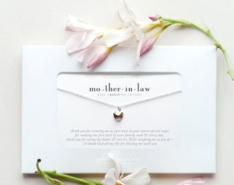 Mother In Law Sterling Silver Heart Necklace Poem Message Card Jewelry