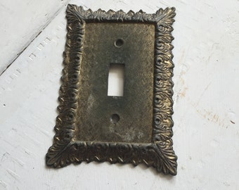 Brass Switch Plate Cover, Great Old Patina, Light Switch Cover, Vintage Decor, Cottage Chic, Shabby Switchplate