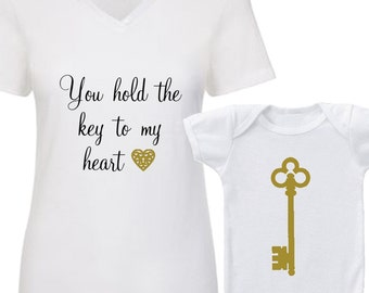 "Custom ""You Hold The Key To My Heart"" Tee & Key Onesie. Baby Mama. Mama and Me. Mama Bear and lil Cub. Baby shower gift. Baby gift."