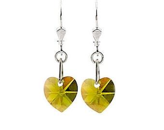 SWAROVSKI Mini Heart Sterling Silver Earrings in Olive Green