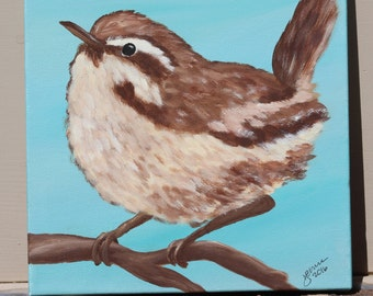 Little Wren on Teal: Original Acrylic Painting on Stretched Canvas, 8x8 inches