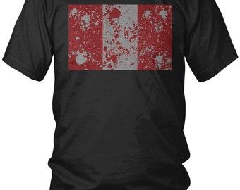 Peru Paint Splatter Men's T-Shirt, Republic of Peru, Peruvian Pride, Lima Men's Peru Soccer Shirts AMD_1375
