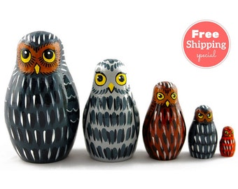 FREE Shipping * OWLS Nesting dolls for kids (5 pcs) * Matryoshka * Russian nesting doll * Stacking dolls * Hand Painted Nesting dolls