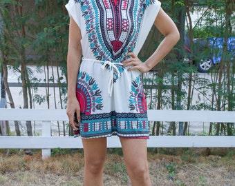 African Dashiki Dress Ankara Dress Hippie Dress Tribal Print Tunic Gypsy Dress Bohemian Dress Festival Top Beach Cover Up African Clothing