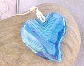Blue Heart Gemstone Pendant, Blue Heart Necklace, Blue Heart Pendant, Gemstone Necklace, Gemstone Pendant, Womens Gift, Ladies, For Her, UK