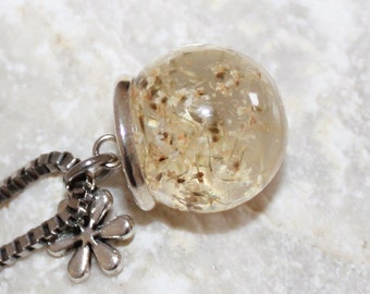 Flowers necklace, natural jewelry, resin ball with flowers