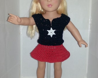 "Patriotic 2 piece outfit for 18"" doll"