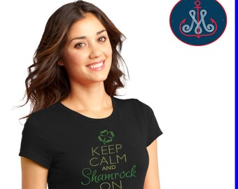 Keep Calm and Shamrock on T, Keep Calm and Shamrock On, St. Patricks Day T,St. Patricks Bling,St Patricks Transfer-HB01