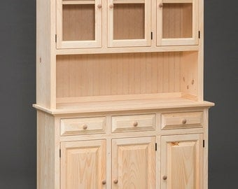 """Amish Built Handcrafted Unfinished Pine Hutch China Cabinet With Upper Glass Doors - 48""""x75.25"""""""