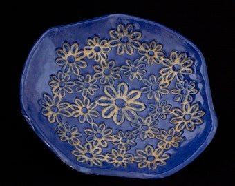 Blue ceramic floral plate with foot