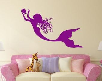 Mermaid Wall Decal Nymph Girl Tail Sea Animal Sea Ocean Vinyl Sticker Decals Bathroom Home Decor Bedroom Dorm Girls Nursery Kids Art x166