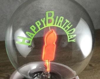 DarkSteve - Happy Birthday - Designer Light Bulb - Vintage Style G80 E26 or E27 Screw Filament Decorative Light Bulbs  #1 Unique Gift
